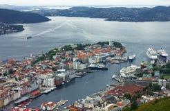 Panorama van Bergen, Noorwegen Stock Foto