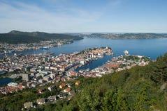Panorama van Bergen (Noorwegen) Stock Fotografie