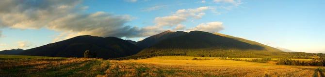 Panorama van berggebieden en weiden Stock Foto