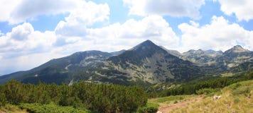Panorama van bergheuvel in Nationaal Park Pirin, Bulgarije stock afbeeldingen