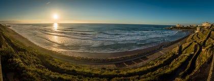 Panorama van Biarritz en cote des basques in het gebied van de Landes royalty-vrije stock afbeeldingen