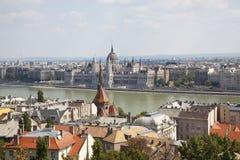 Panorama van Boedapest Stock Foto's