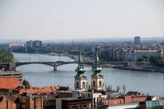 Panorama van Boedapest met de Donau, Boedapest, Hongarije Stock Afbeelding