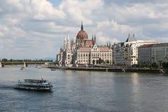Panorama van Boedapest met de Donau en het Parlement, Hongarije Royalty-vrije Stock Fotografie