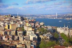 Panorama van Bosphorus/Istanboel Stock Foto's