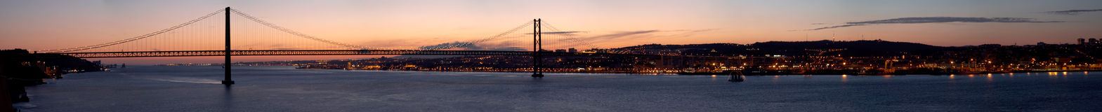 Panorama van brug 25 DE Abril Lissabon, Portugal royalty-vrije stock afbeelding