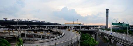 Panorama van Buiten de Bouwsuvarnabhumi Internationale Luchthaven Stock Fotografie