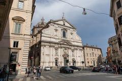 Panorama van buitenkant van de Kerk van Gesu stock fotografie