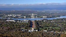 Panorama van Canberra van Onderstel Ainslie royalty-vrije stock afbeeldingen