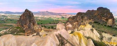 Panorama van Cappadocia Stock Foto's