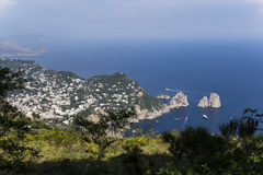 Panorama van Capri-eiland van Monte Solaro, in Anacapri Stock Afbeeldingen
