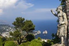 Panorama van Capri-eiland van Monte Solaro, in Anacapri Stock Foto's