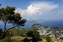 Panorama van Capri-eiland van Monte Solaro, in Anacapri Royalty-vrije Stock Afbeelding