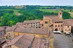 Panorama van CastellArquato. Emilia-Romagna. Italië. stock afbeelding