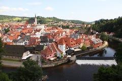 Panorama van Cesky Krumlov stock afbeelding