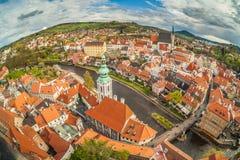 Panorama van Cesky Krumlov, Bohemen, Tsjechische Republiek Royalty-vrije Stock Afbeelding