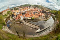Panorama van Cesky Krumlov in de lente bohemen Stock Foto