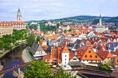 Panorama van Cesky Krumlov Tsjechische Republiek Unesco-Werelderfenis Stock Afbeelding
