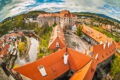 Panorama van Cesky Krumlov vanaf de bovenkant van een toren bohemen Stock Fotografie