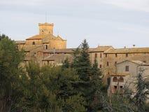 Panorama van Chianni-dorp, provincie van Pisa Toscanië, Italië stock foto