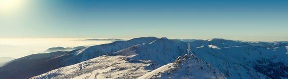 Panorama van Chopok-berg bij zuidelijk deel van Jasna-toevlucht, Slowakije Gefiltreerd beeld: kruis verwerkt uitstekend effect Royalty-vrije Stock Fotografie