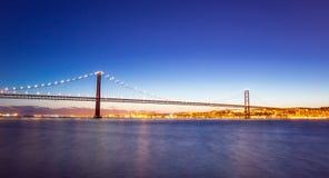Panorama van cityscape en de Brug van Lissabon Stock Foto