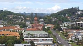 Panorama van Coolangatta van het balkon van mijn flat bij het Strandhuis wordt gezien, Coolangatta, Queensland, Australië dat stock afbeelding