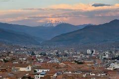 Panorama van Cusco bij zonsondergang, Peru Royalty-vrije Stock Foto's