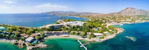 Panorama van de baai van Lagonisi, in Attica, Griekenland stock afbeeldingen