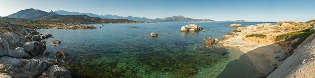 Panorama van de baai van Calvi van Punta Spanu in Corsica royalty-vrije stock fotografie