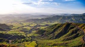Panorama van de bergen en de vallei van Semien rond Lalibela Ethiopië stock foto's