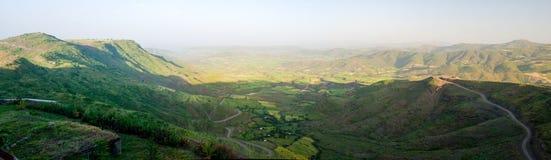 Panorama van de bergen en de vallei van Semien rond Lalibela, Ethiopië stock fotografie