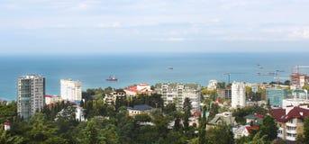 Panorama van de bouwwerf van Sotchi stock afbeelding