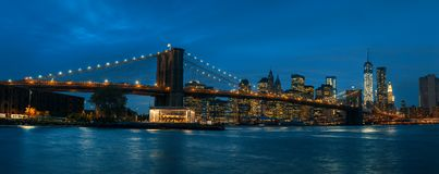 Panorama van de Brug van Brooklyn, NYC stock afbeelding