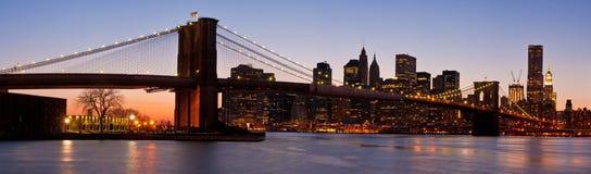 Panorama van de Brug van het Lower Manhattan en van Brooklyn Stock Afbeeldingen