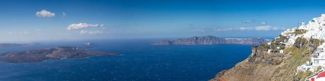Panorama van de caldera van Santorini Stock Afbeelding