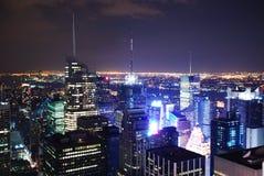 Panorama van de de nachtmening van de Stad van New York het Lucht Royalty-vrije Stock Afbeelding