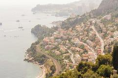 Panorama van de golf van Cabbé GLB Martin en het Prinsdom van Monte Carlo van Monaco royalty-vrije stock foto's