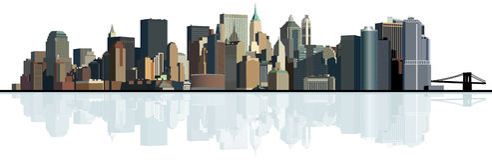 Panorama van de grote stad. Stedelijke achtergrond. Stock Foto's