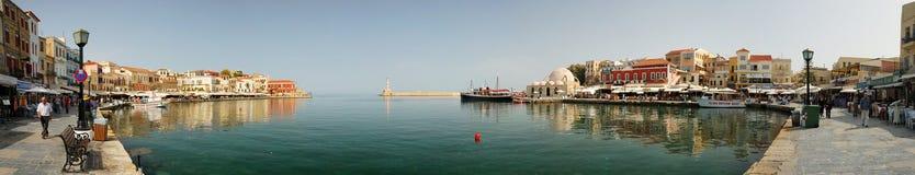 Panorama van de haven van Chania, Kreta Stock Fotografie