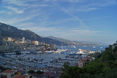 Panorama van de haven van Monte Carlo in Monaco Stock Fotografie