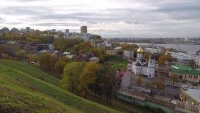 Panorama van de herfst Nizhny Novgorod stock videobeelden