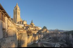 Panorama van de historische stad van Segovia Spanje royalty-vrije stock foto's