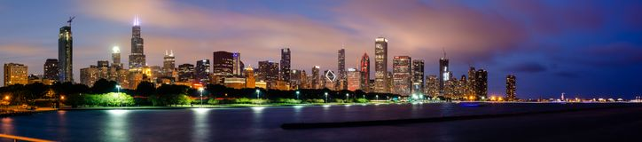 Panorama van de Horizon van Chicago royalty-vrije stock foto's