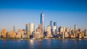 Panorama van de horizon van Manhattan over Hudson River Royalty-vrije Stock Fotografie