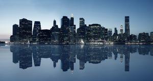 Panorama van de horizon van Manhattan Stock Foto's