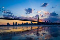 Panorama van de horizon van Philadelphia stock afbeelding