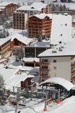Panorama van de Hotels, Les Deux Alpes, Frans Frankrijk, Stock Foto