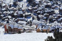 Panorama van de Hotels, Les Deux Alpes, Frans Frankrijk, Royalty-vrije Stock Foto's