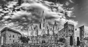 Panorama van de Kathedraal van Barcelona, Catalonië, Spanje Royalty-vrije Stock Afbeelding